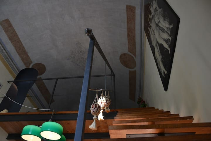 stairs to the mezzanine floor