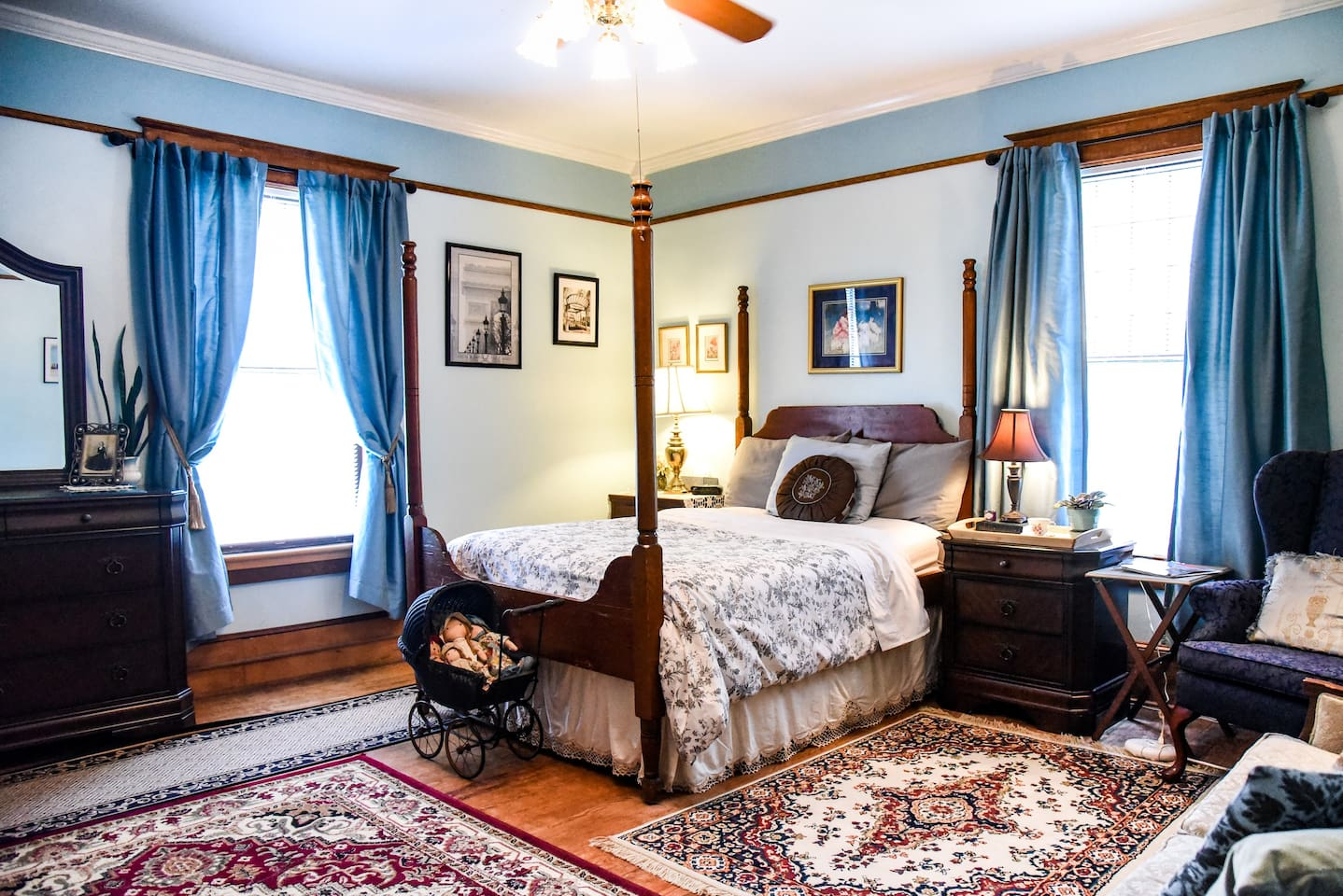 Spacious room upstairs in a historic 100 yr old home, furnished with antiques, located about a mile from Old Salem, downtown and many colleges.
