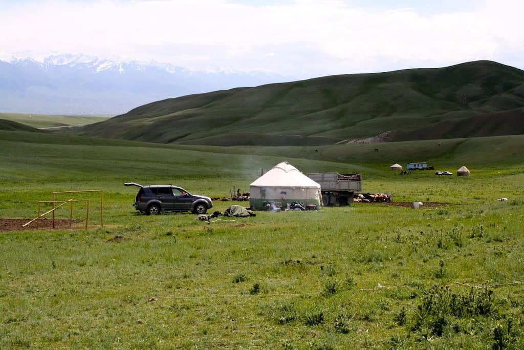 The summer yurt camp. Early in the spring we camp out near the village then move to higher summer pastures in July.