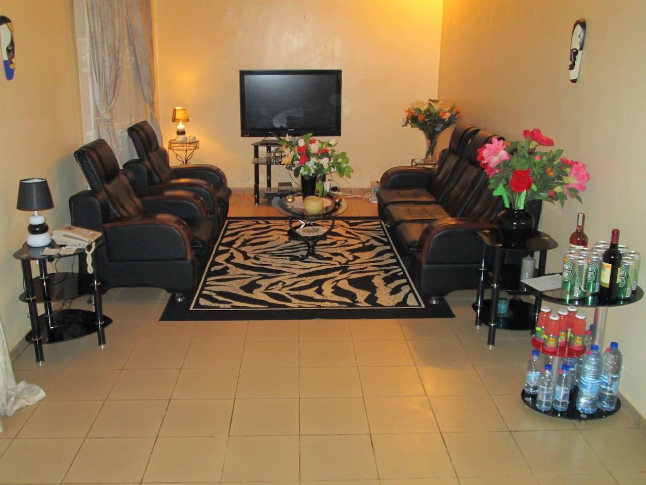 Le séjour. Canapé en cuir, grand écran plat avec les chaines de canal plus. Salon climatisé