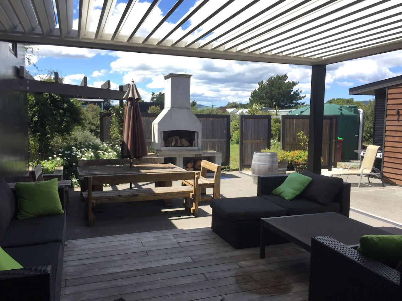 Windless courtyard with outdoor fire