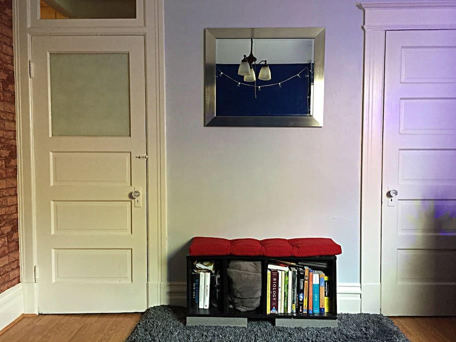 Room View 4: Bookshelf Seating Bench