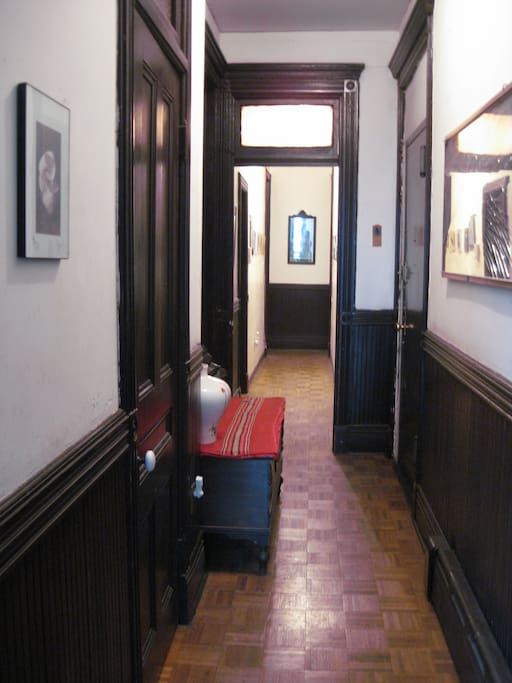 This is the entrance hallway to the apartment, to the right is the private section, including kitchen and bathroom