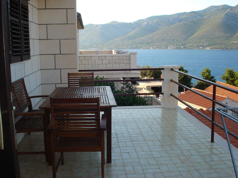 Terrace with table.