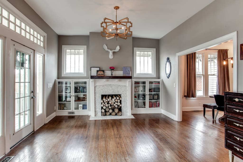 The inviting foyer features custom designed pieces.
