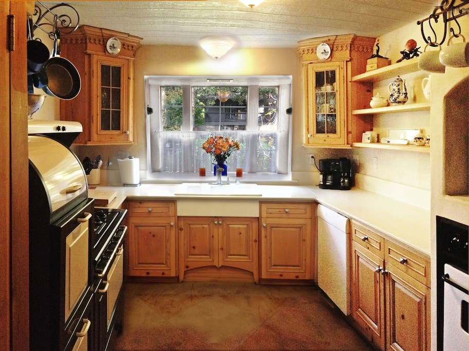 Kitchen with wonderfully detailed, hand built cabinetry