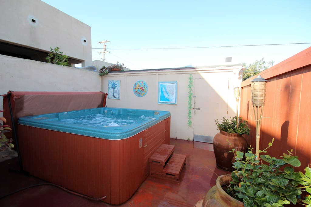 Cal Spa hot tub is waiting for you!. Hot tub is on private patio.