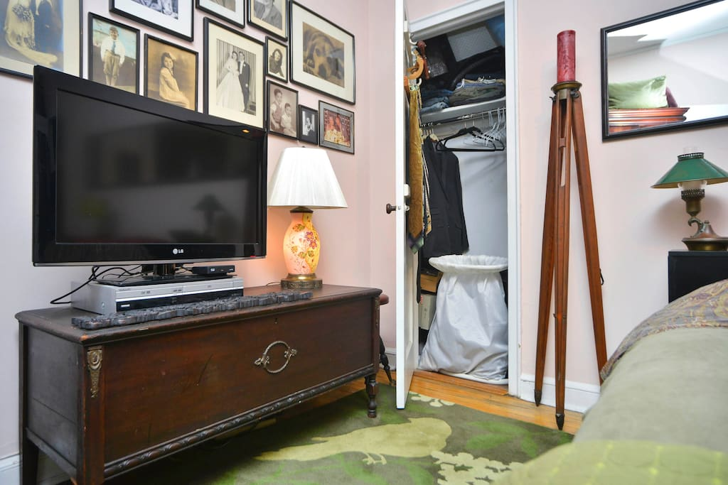 The Flat Screen TV & closet in the Bedroom.