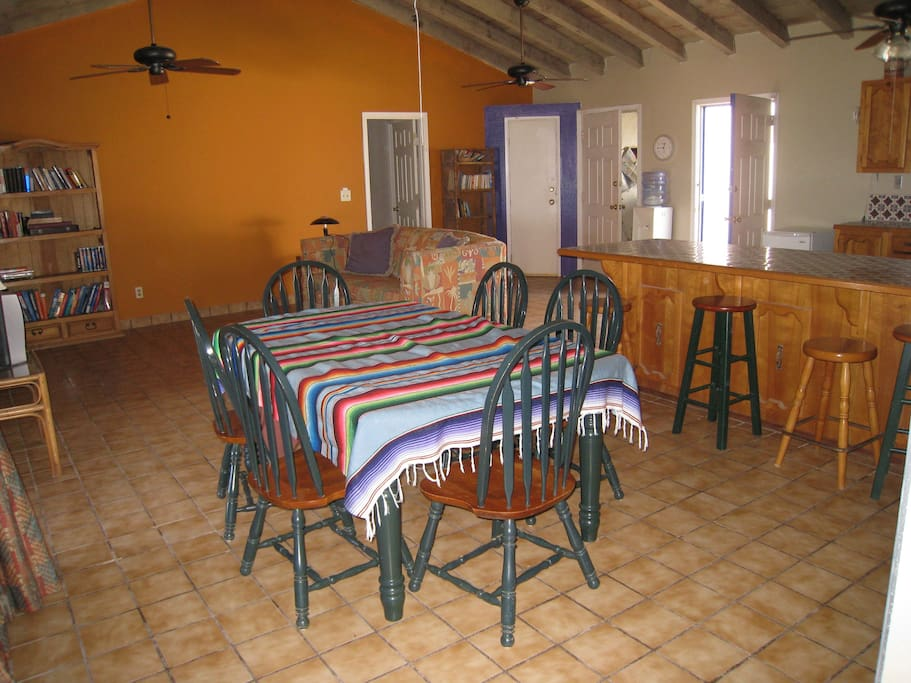 Vaulted ceiling in great room, dining room. All rooms have french doors that open to the beach