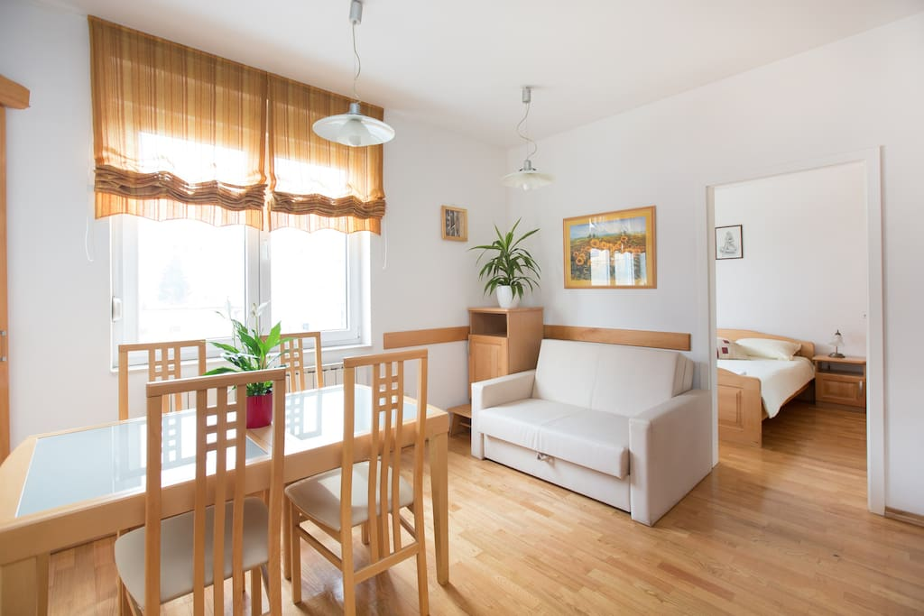 Bright and cosy living & dining space with garden view!