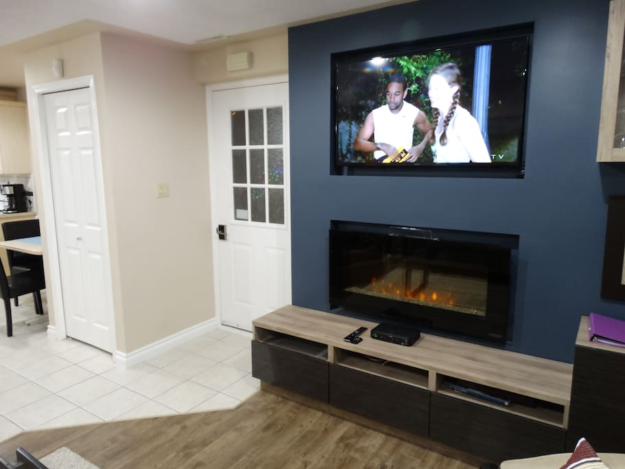 "48"" tv with Fireplace and lots of storage. Private enterance"