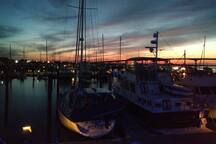 View of sunset from our fly bridge at our dock in Beaufort.