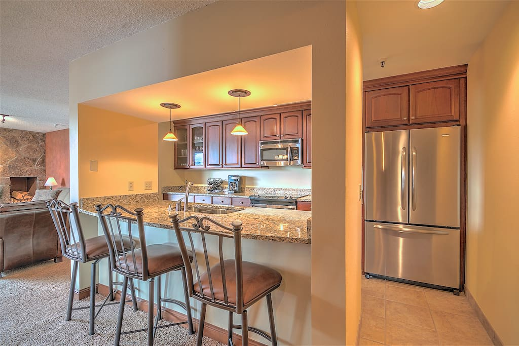 Beautifully remodeled kitchen with plenty of room for cooking and entertaining