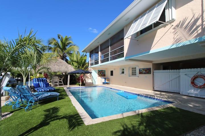 Tiki, Pool, Boat Dock, Canal Home in Islamorada,