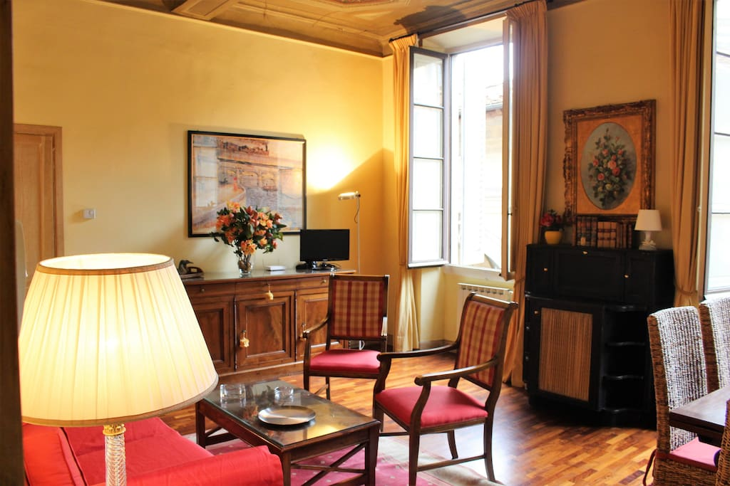 Living- Dining Room- View to Piazza del Mercato Nuovo