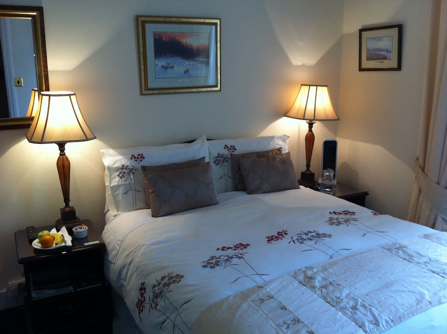 Private double room en-suite with LCD TV, hospitality tray, fruit, etc