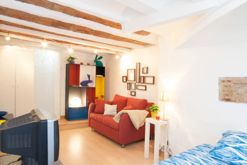 The original wooden beams restored and preserved to give the old town feeling completely
