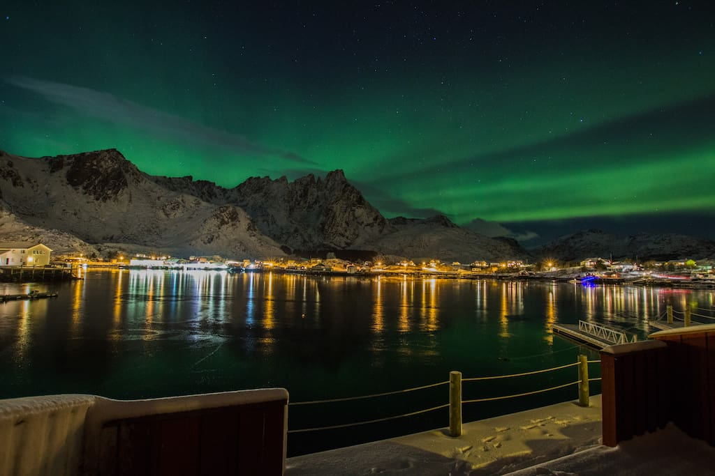 Aurora borealis from the seaside terrace