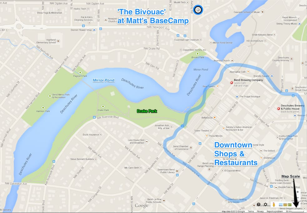 It's a short 1 block walk from the Bivouac, over the river and directly into the heart of downtown Bend.