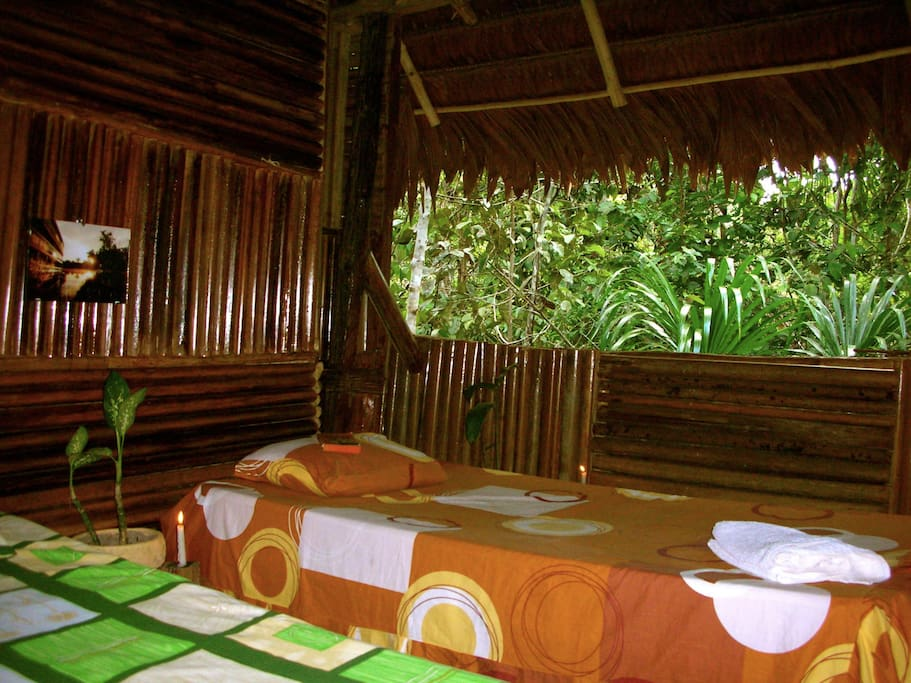 A cozy and warmth room, with 2 beds and mosquito nets, and a view on trees.