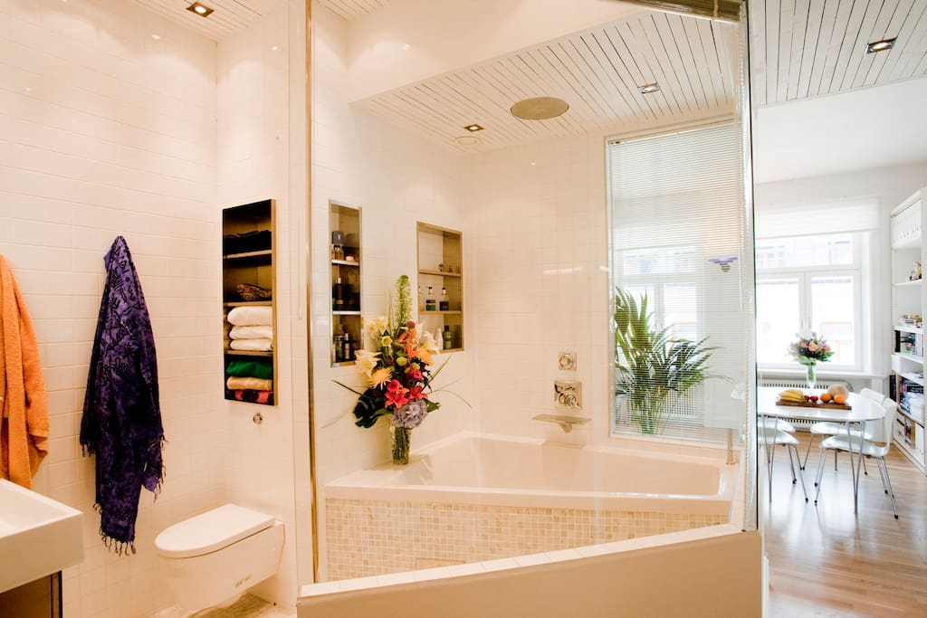 Designer bathroom with bathtub, roof shower head and it has venetian curtains for privacy in all the windows of the bathroom.