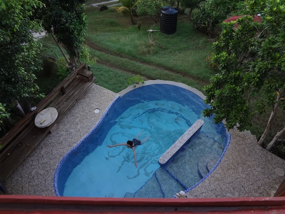 The pool from the upper verandah.