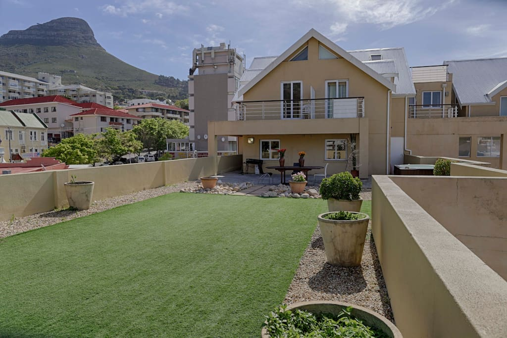The 120 Square metre balcony looking toward Lions head