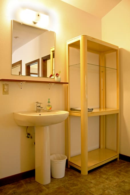 Accessible lavatory and storage for personal items in separate space from the shower and toilet room.