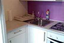Kitchen with sink and gas cooker