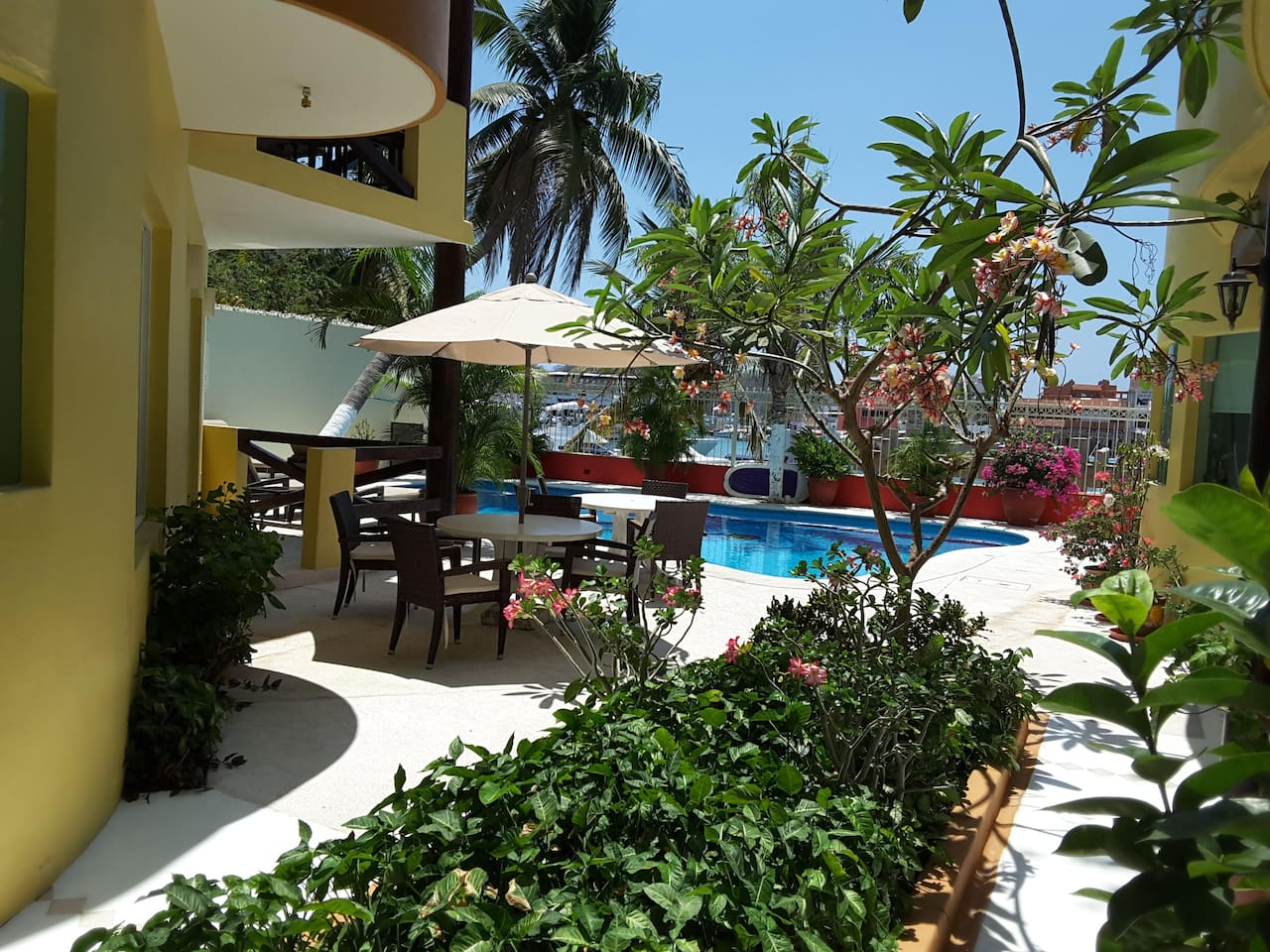 Pool, garden and Sta. Cruz Marina view at Real Marina Blue Condo / 2, 3-level complex w 14 apts / Very quiet area