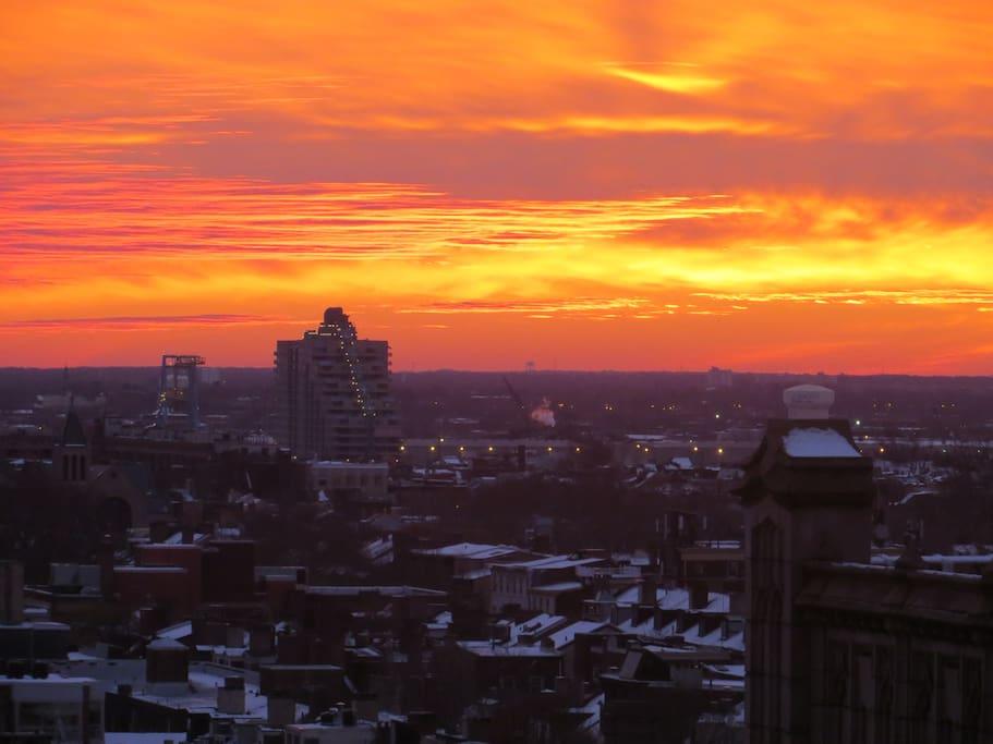 Sunrise, eastern exposure, snow in Philadelphia