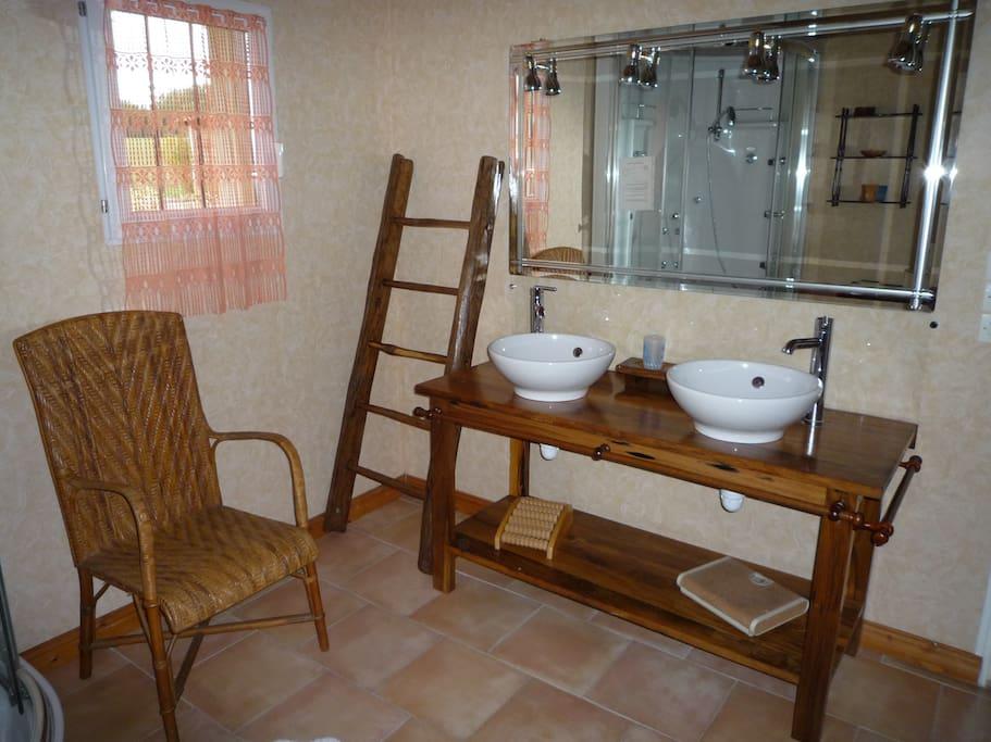salle de bain avec douche hydromassage