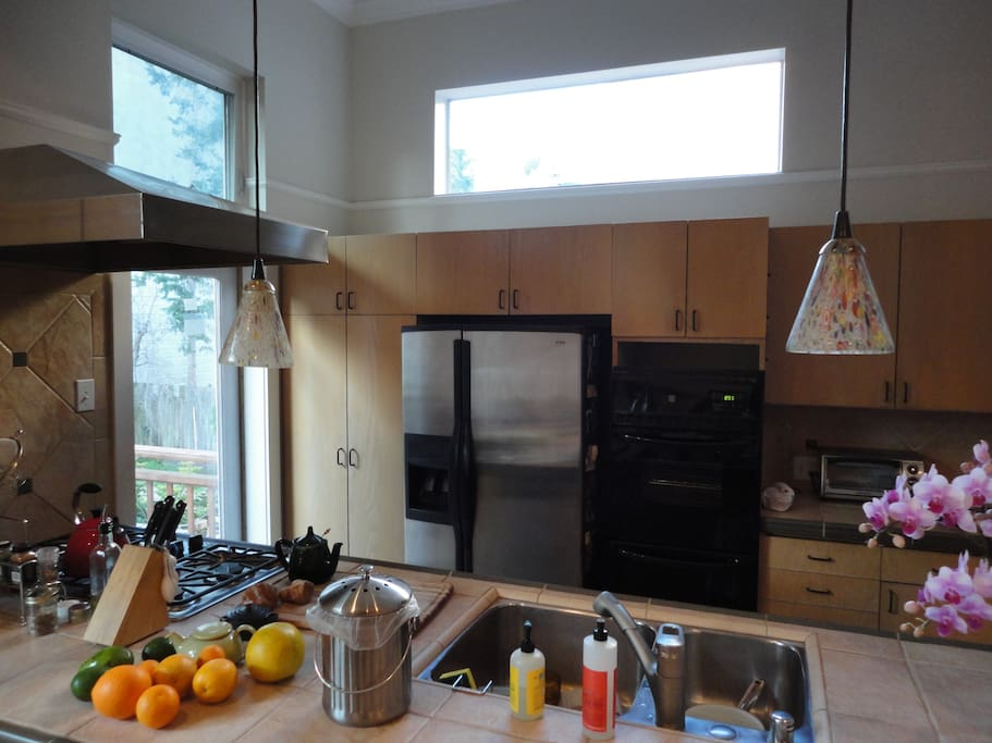 Kitchen counter, lots of natural light with extra windows above the cabinets.