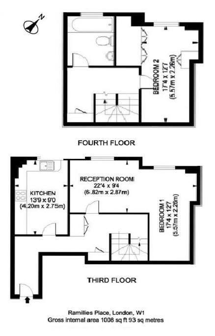 Floor Plan - Gross internal area 1008 sq ft (93 sq meters)