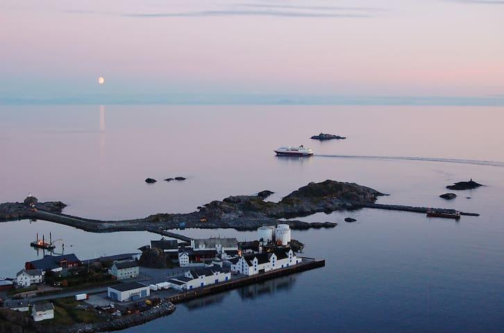 The mainland in the horizon.