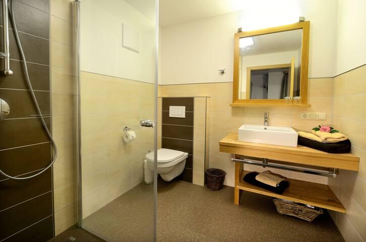 Badezimmer mit Handtücher, Fön, Seife