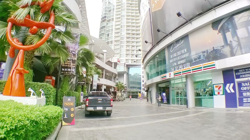 Hip District of Bangkok. W Market with 7 Eleven opens 24 hours.