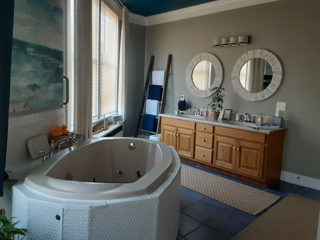 Spa room with a Spacious jacuzzi waiting for you to relax  and enjoy!