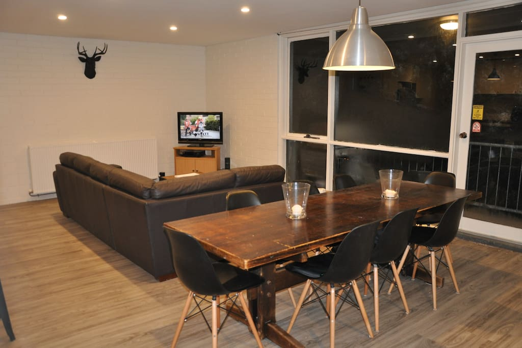 Apartment Renovated in 2016. Large open plan lounge, kitchen and dining room.  Table comfortably seats 8.