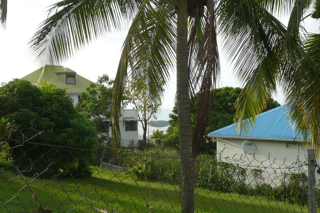 Vue de la terrasse sur les îlets Pigeon.