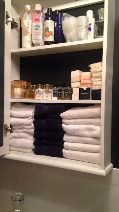 Toiletries and washcloths provided for guests