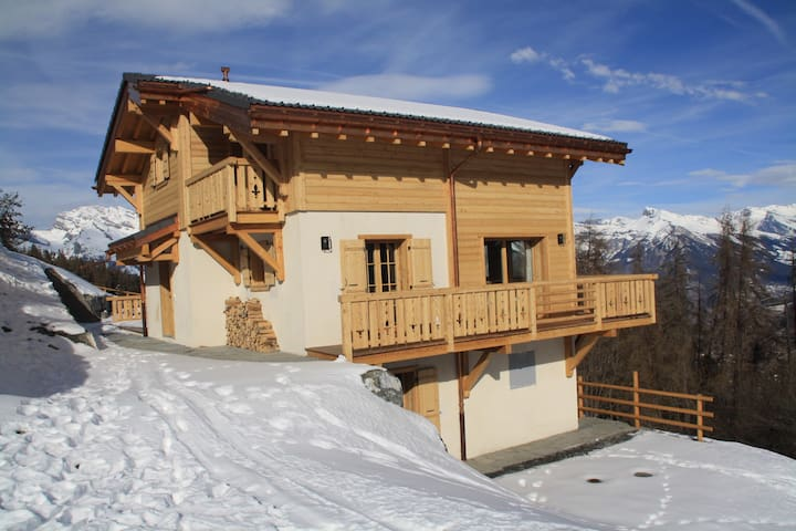 Brand new chalet with stunning views-sleeps 8-10 - Riddes - Alpehytte