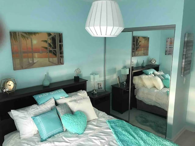 Beach and Turquoise Theme Across the house -  Master Bedroom