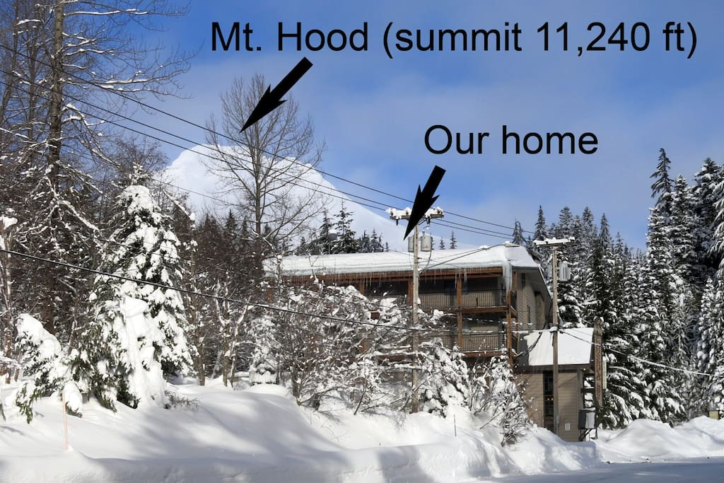 Mt. Hood's majestic summit sits just above our mountain vacation home.