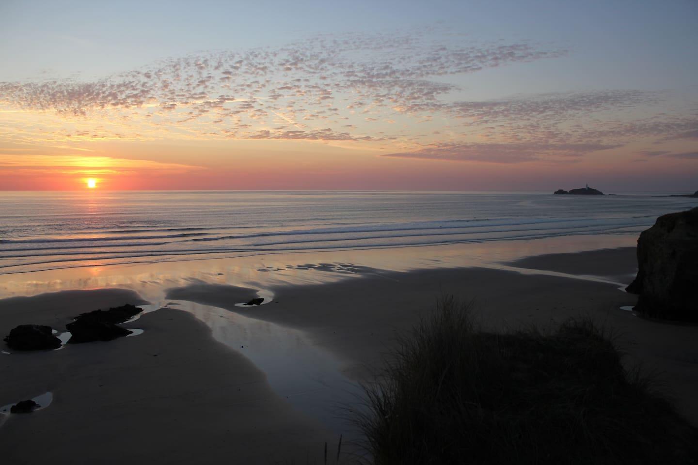 Sunset over Godrevy beach.