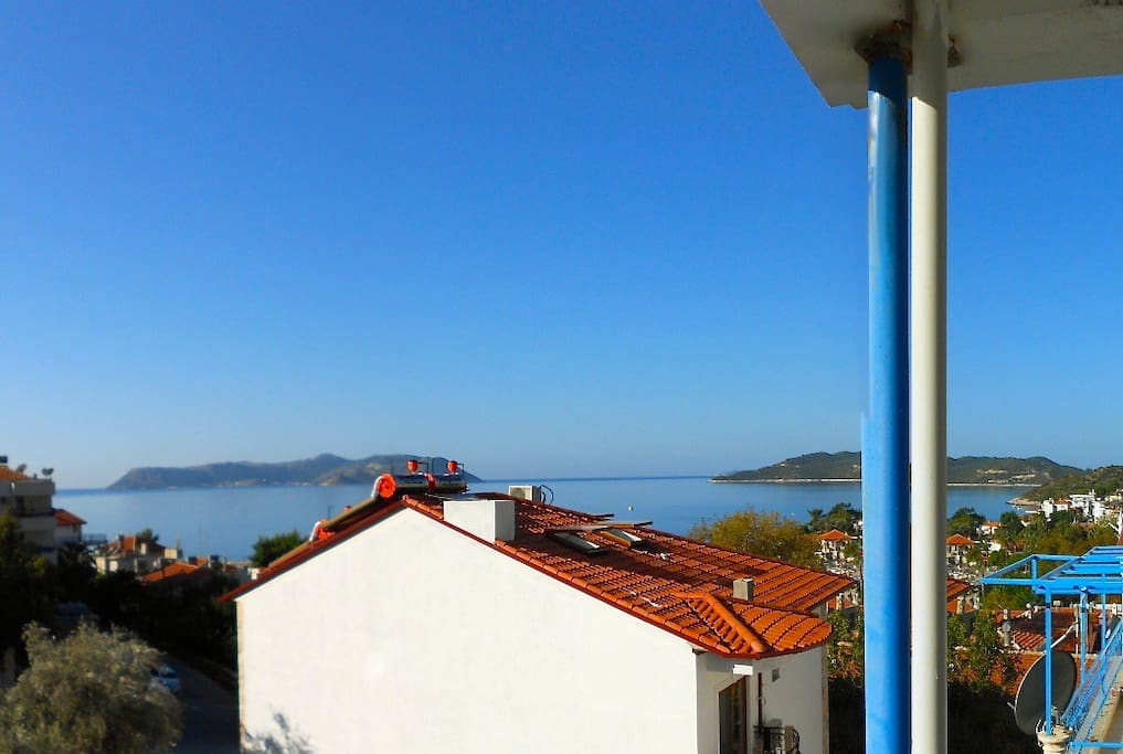 Great vistas from front balcony over the sea, mountains and the Greek island Kastelorizo