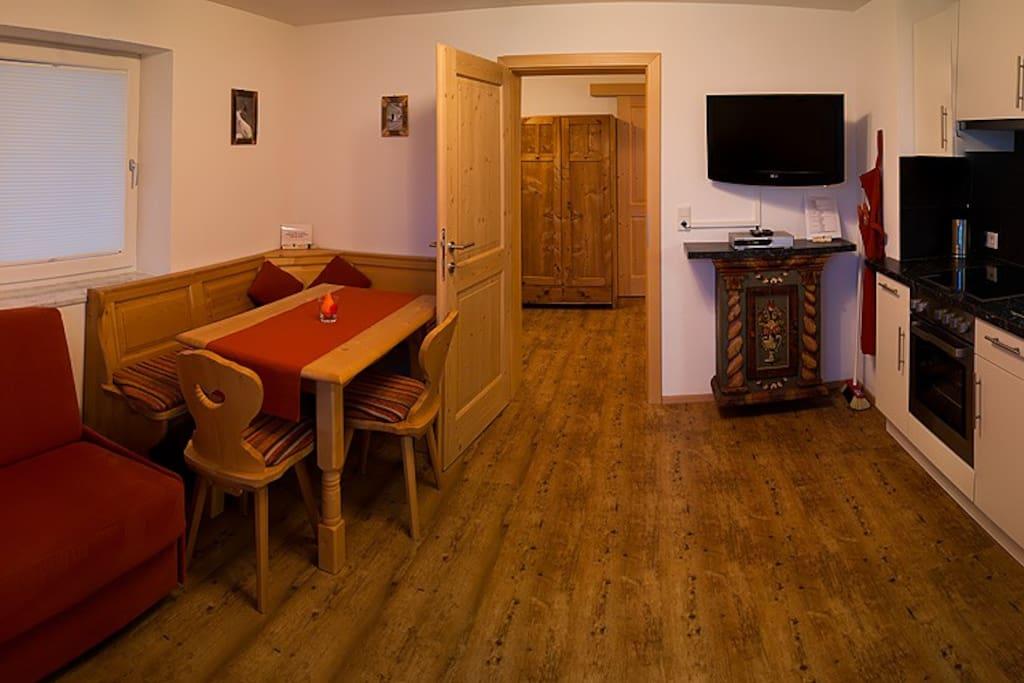 Wohnküche/Sofa kann ausgezogen werden