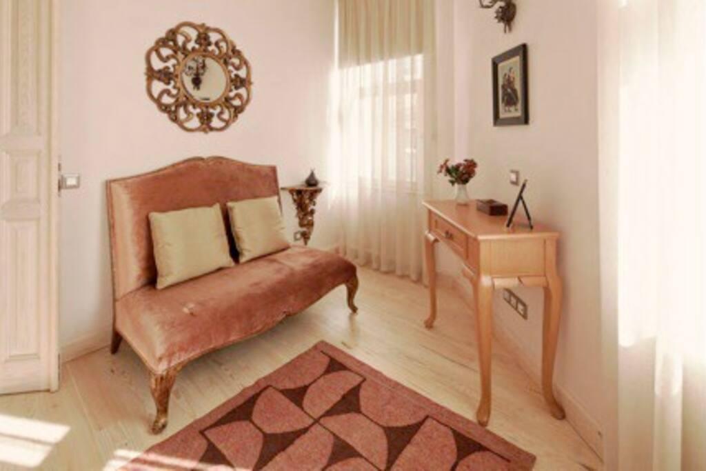 Living area of bedroom
