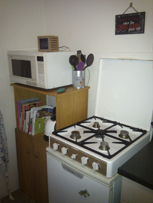 Stove and oven/microwave