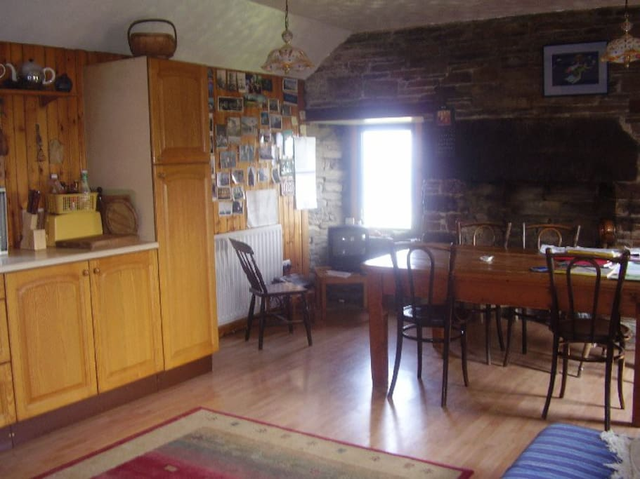 Huge antique table to sit around with views over loch